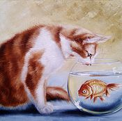 Картины и панно handmade. Livemaster - original item Oil painting with a fish Wish for a cat. Handmade.