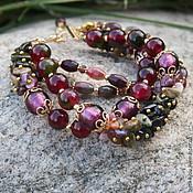 Украшения handmade. Livemaster - original item Bracelet from TOURMALINE tourmalines,lampwork with gold.Berry wine. Handmade.
