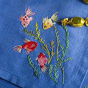 Для дома и интерьера ручной работы. Ярмарка Мастеров - ручная работа Рыбки вышивка гладью скатерть и салфетка. Handmade.