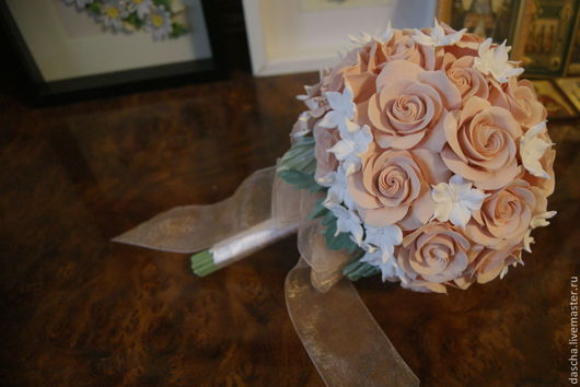 Букеты ручной работы. Ярмарка Мастеров - ручная работа. Купить Букет невесты из викторианских роз и стефанотисов. Handmade. Букет невесты