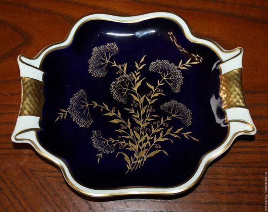 Винтажная посуда. Ярмарка Мастеров - ручная работа. Купить Старинное, кобальтовое блюдо с золотыми цветами, Weimar, Германия. Handmade.
