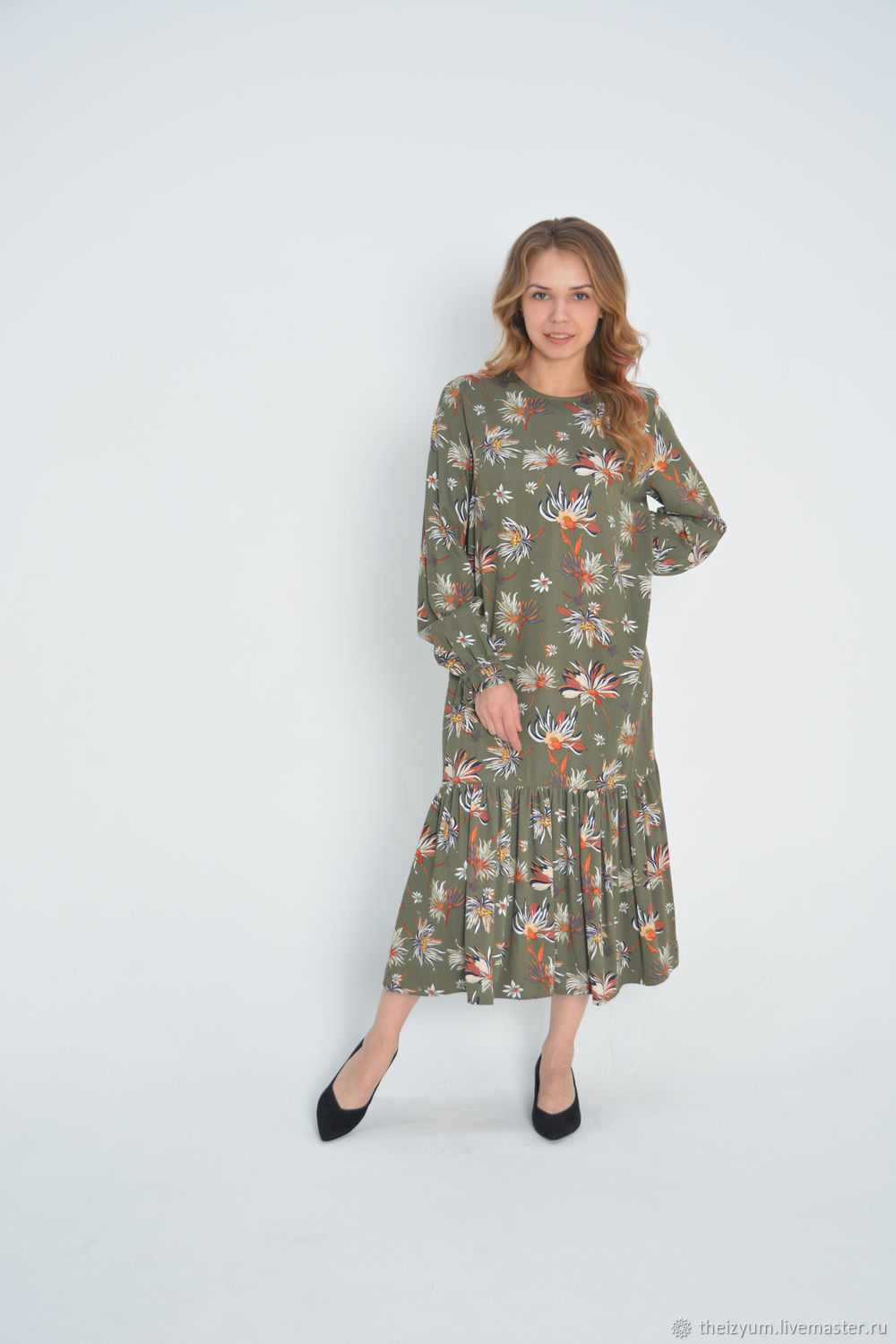 Dress with flounce flowers in green and beige, Dresses, Moscow,  Фото №1