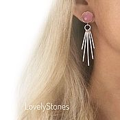 Украшения handmade. Livemaster - original item Stud earrings with pink crystals and tassels long earrings. Handmade.
