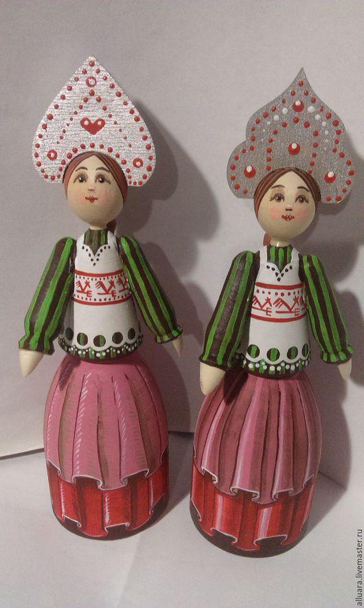 Народные куклы ручной работы. Ярмарка Мастеров - ручная работа. Купить кукла. Handmade. Брусничный, точение, акрил, Дерево натуральное
