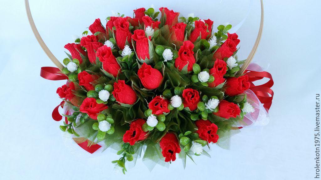Букеты из конфет розы в корзине своими руками мастер класс 65