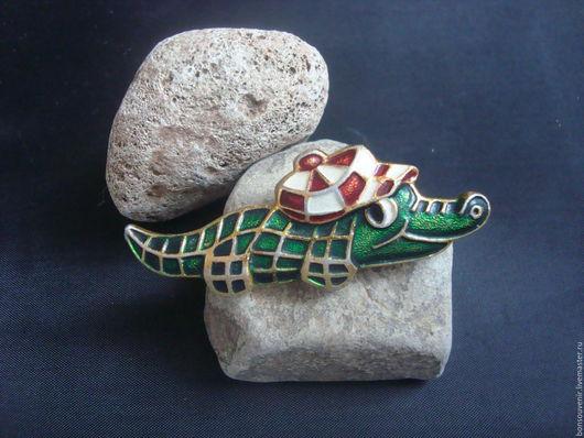 Винтажные украшения. Ярмарка Мастеров - ручная работа. Купить Винтажная брошь/ значок  с эмалью  Крокодильчик. Handmade. Ретро стиль