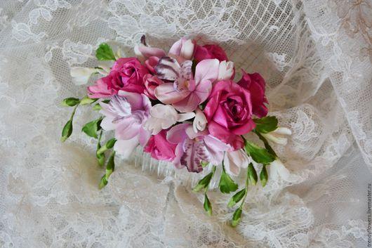 Гребень из роз, орхидей и фрезий для невесты. Цветы из шелка