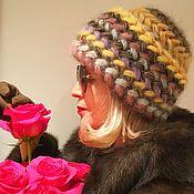 Аксессуары ручной работы. Ярмарка Мастеров - ручная работа Шапка  Мимоза  вязаная, вязанная из  мохера, теплая, женская. Handmade.