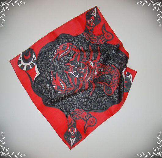 """Шарфы и шарфики ручной работы. Ярмарка Мастеров - ручная работа. Купить Шелковый платок """"Скорпион-знак зодиака"""". Handmade. Черный"""