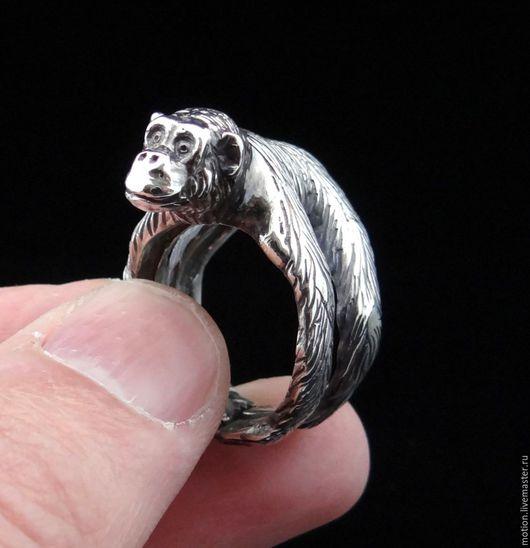 Кольца ручной работы. Ярмарка Мастеров - ручная работа. Купить Серебряное Шимпанзе, Кольцо Мартышка, Колечко Обезьяна. Handmade.