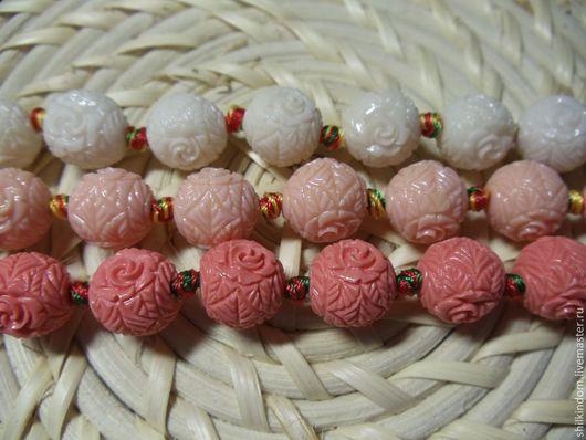 Для украшений ручной работы. Ярмарка Мастеров - ручная работа. Купить Резные бусины шары из пресованного коралла-12мм. Handmade.