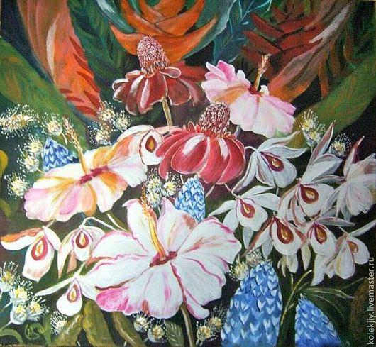 Картины цветов ручной работы. Ярмарка Мастеров - ручная работа. Купить Цветы Эдема. Handmade. Картина для интерьера, картина в подарок