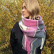 Аксессуары ручной работы. Ярмарка Мастеров - ручная работа Тканый шарф палантин в клетку (розово-молочный)  теплый. Handmade.