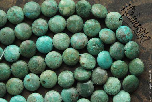 Для украшений ручной работы. Ярмарка Мастеров - ручная работа. Купить Бирюза натуральная, монетка, нить 20,5 см. Handmade.
