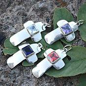 handmade. Livemaster - original item Cross pendant in 925 silver with square cubic Zirconia. Handmade.