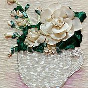 Картины и панно ручной работы. Ярмарка Мастеров - ручная работа Вышивка лентами Чайная роза. Handmade.