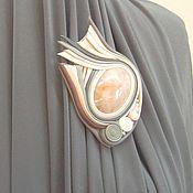 Украшения handmade. Livemaster - original item The decoration of leather and stone. Brooch