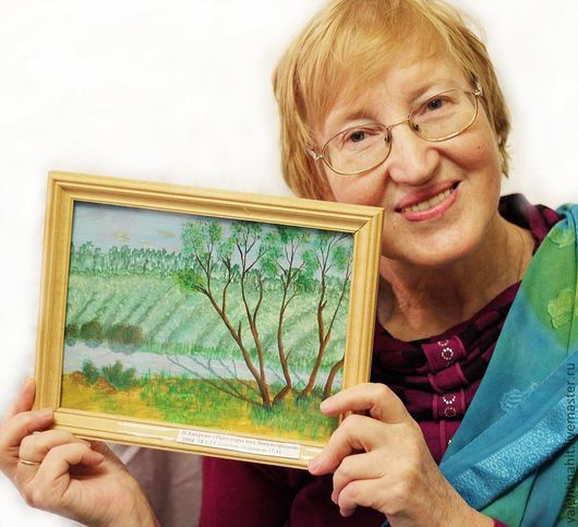 """Пейзаж ручной работы. Ярмарка Мастеров - ручная работа. Купить картина """"Просторы под Звенигородом"""" (зеленый, коричневый). Handmade. Зеленый"""