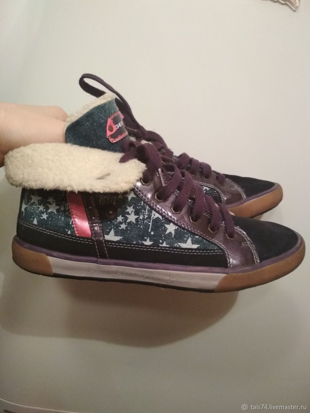 83323a19b ... Винтажная обувь. Винтаж: Кроссовки женские (высокие демисезонние на  меху) марки Geox 39р ...