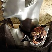 """Украшения ручной работы. Ярмарка Мастеров - ручная работа Колье-чокер  из шелка и кожи. """"Хищный цветок"""". Handmade."""