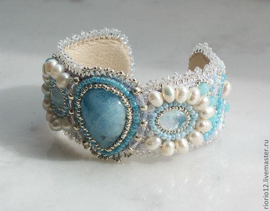 """Браслеты ручной работы. Ярмарка Мастеров - ручная работа. Купить Браслет """"Blue ice"""". Handmade. Жемчуг натуральный, лунный камень"""