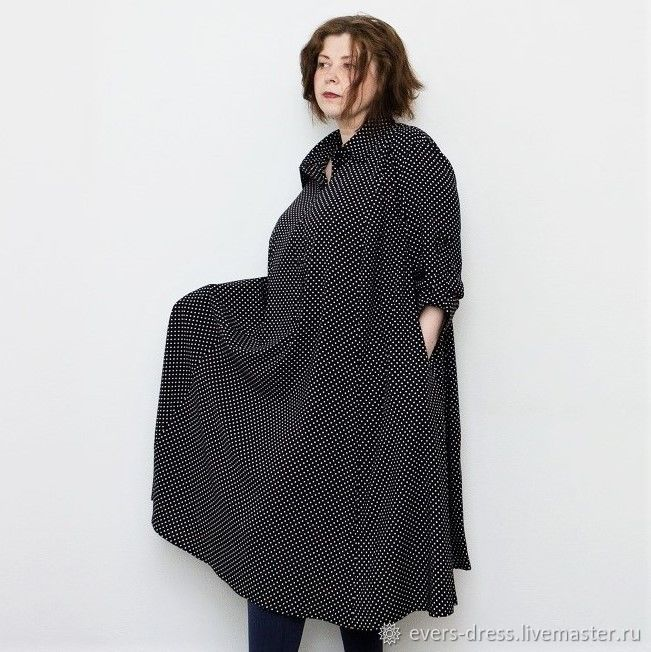 shirt dress, long dress, polka dot dress, black white polka dots, plus size dresses, shift dress, polka dots big size dress with long sleeve