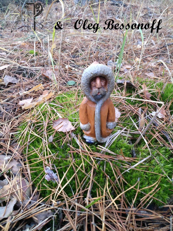 Christmas tree toy wood carved figure miniature old Man, Miniature figurines, Ryazan,  Фото №1