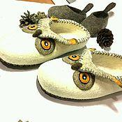 Обувь ручной работы handmade. Livemaster - original item Felted slippers Owls. Handmade.