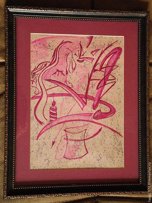 Абстракция ручной работы. Ярмарка Мастеров - ручная работа. Купить Фиолетовое нечто. Handmade. Фиолетовый, творчество, литература, время, карандаши