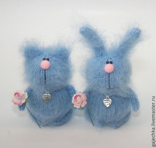 Игрушки животные, ручной работы. Ярмарка Мастеров - ручная работа. Купить Голубые зайчики и котики. Handmade. Голубой, мягкая игрушка