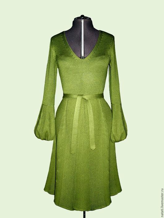 Платья ручной работы. Ярмарка Мастеров - ручная работа. Купить Платье с прессовым рисунком зеленое. Handmade. Вязаное платье