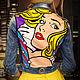 Верхняя одежда ручной работы. Ярмарка Мастеров - ручная работа. Купить Поп-арт роспись джинсовых курток. Handmade. Желтый