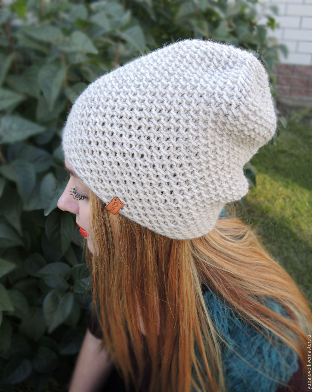 Вязаная шапка бини спицами. Работа anya, вязание для детей.