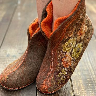 Обувь ручной работы. Ярмарка Мастеров - ручная работа Чуни валяные «Осень». Handmade.