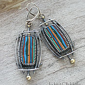 Украшения handmade. Livemaster - original item Rayas II - Sterling Silver Earrings with Rainbow calsilica. Handmade.