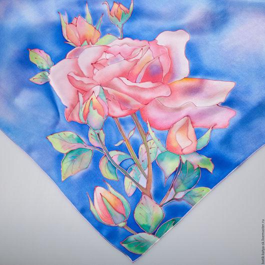 """Шали, палантины ручной работы. Ярмарка Мастеров - ручная работа. Купить Батик платок """"Изящная роза"""". Handmade. Синий, роза"""