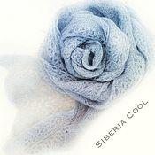 Аксессуары handmade. Livemaster - original item Scarf women`s Blue haze, gray-blue hollow-out pattern mohair. Handmade.