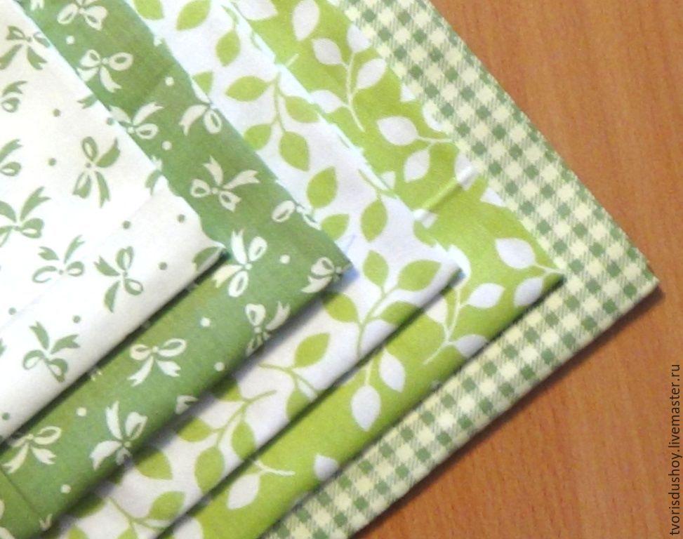 Шитье ручной работы. Ярмарка Мастеров - ручная работа. Купить Набор тканей из хлопка 5 отрезов  в зелёных тонах. Handmade.