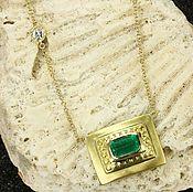 Necklace handmade. Livemaster - original item 1.95-carat Colombian Emerald Emerald Cut Solitaire Necklace 18K Gold. Handmade.