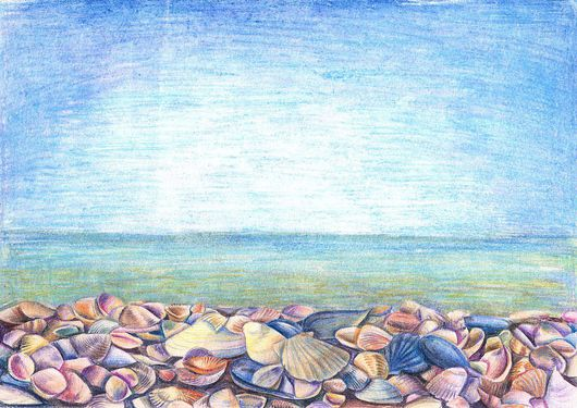 Пейзаж ручной работы. Ярмарка Мастеров - ручная работа. Купить Ракушки. Handmade. Море, лето, небо, жара, ракушки, берег