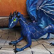 Куклы и игрушки ручной работы. Ярмарка Мастеров - ручная работа Коллекционная игрушка  Дракон летних гроз (дракон синий). Handmade.