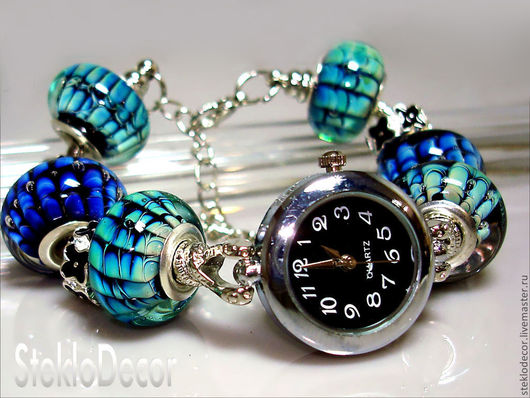 """Часы ручной работы. Ярмарка Мастеров - ручная работа. Купить Часы """"Волнение моря"""" авторский лэмпворк. Handmade. Авторский лэмпворк"""
