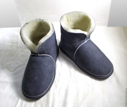 Обувь ручной работы. Ярмарка Мастеров - ручная работа. Купить Чуни из натуральной овчины серые. Handmade. Чуни из овчины, серый