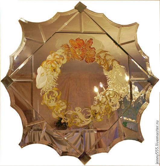 Зеркала ручной работы. Ярмарка Мастеров - ручная работа. Купить зеркало-античные мотивы.. Handmade. Серебряный, зеркало настенное, маки