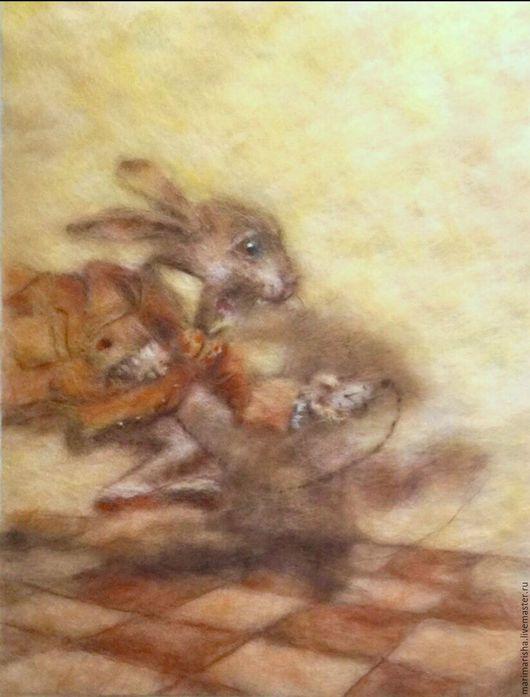 Репродукции ручной работы. Ярмарка Мастеров - ручная работа. Купить Картина из шерсти по иллюстрации Алиса в стране чудес. Handmade. Бежевый