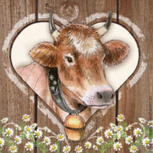 Декупаж и роспись ручной работы. Ярмарка Мастеров - ручная работа. Купить Домашняя корова (13307715) 33х33 салфетка для декупажа. Handmade.