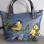 Сумки и аксессуары handmade. Livemaster - original item Bag leather women`s tote Bag with applique a Celebration of spring. Handmade.