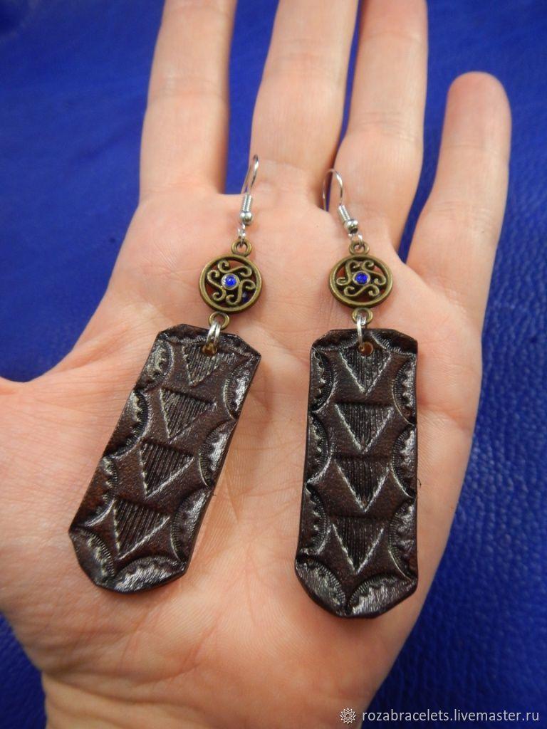 Earrings made of leather Triangles, Earrings, Ulyanovsk,  Фото №1