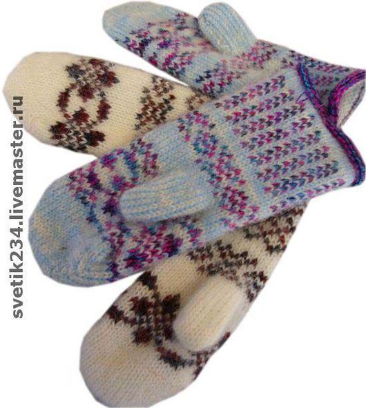 Варежки, митенки, перчатки ручной работы. Ярмарка Мастеров - ручная работа. Купить Варежки шерстяные. Handmade. Вязаные варежки
