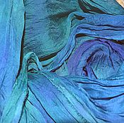 Аксессуары handmade. Livemaster - original item Scarf emerald blue with a purple crinkled silk large. Handmade.